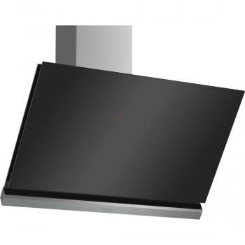 Campana decorativa de pared Bosch DWK98PR60 en Cristal Negro de 90 cm a 837 m³/h | WiFi Home Connect | Motor EcoSilence Clase A+ | Serie 8