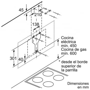 Campana decorativa de pared Bosch DWK98PR60 en Cristal Negro de 90 cm a 837 m³/h | WiFi Home Connect | Motor EcoSilence Clase A+ | Serie 8 - 7