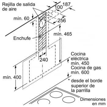Campana decorativa de pared Bosch DWK98PR60 en Cristal Negro de 90 cm a 837 m³/h | WiFi Home Connect | Motor EcoSilence Clase A+ | Serie 8 - 9