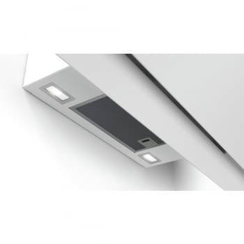 Campana decorativa de pared Bosch DWK98JQ20 en Cristal Blanco de 90 cm a 836 m³/h | Motor EcoSilence Clase A+ | Serie 6 - 6