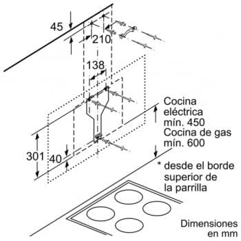 Campana decorativa de pared Bosch DWK98JQ60 en Cristal Negro de 90 cm a 836 m³/h | Motor EcoSilence Clase A+ | Serie 6 - 11