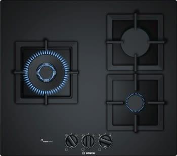 Placa de Gas Natural Bosch PPC6A6B20 de 60 cm con 3 Quemadores FlameSelect a 9 niveles | Serie 6