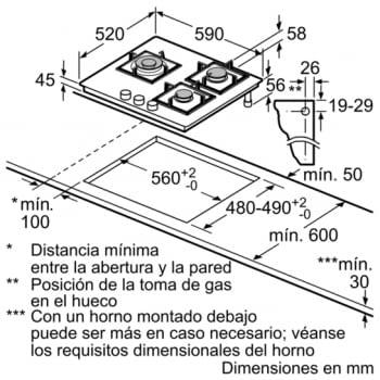 Placa de Gas Natural Bosch PPC6A6B20 de 60 cm con 3 Quemadores FlameSelect a 9 niveles | Serie 6 - 8