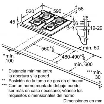 Placa de Gas Natural Bosch PPP6A6B20 de 60 cm con 4 Quemadores FlameSelect a 9 niveles | Serie 6 - 7