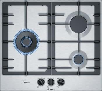 Placa de Gas Natural Bosch PCC6A5B90 Inoxidable de 60 cm con 2 Quemadores de Gas FlameSelect a 9 niveles + 1 Quemador Wok | Serie 6