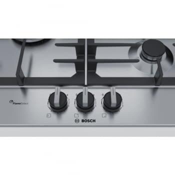 Placa de Gas Natural Bosch PCC6A5B90 Inoxidable de 60 cm con 2 Quemadores de Gas FlameSelect a 9 niveles + 1 Quemador Wok | Serie 6 - 3