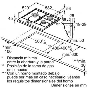 Placa de Gas Natural Bosch PCC6A5B90 Inoxidable de 60 cm con 2 Quemadores de Gas FlameSelect a 9 niveles + 1 Quemador Wok | Serie 6 - 5