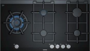 Placa de Gas Siemens ER9A6SD70 Negro de 90 cm con 5 Quemadores a 9 niveles de potencia | 1 Quemador WOK | Parrillas hierro fundido