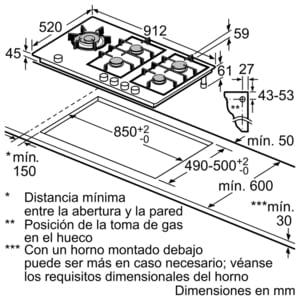 Placa de Gas Siemens ER9A6SD70 Negro de 90 cm con 5 Quemadores a 9 niveles de potencia | 1 Quemador WOK | Parrillas hierro fundido - 7