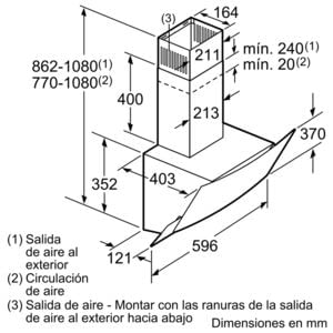 BALAY 3BC565GB CAMPANA CRISTAL BLANCO INCLINADA 60CM 530M3/H - 6