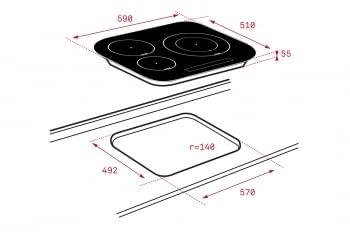 Placa de Inducción Teka IRC 6320  (Ref. 10210207) de 59cm | 3 zonas | Cantos Circulares | Regulación Independiente | Stock - 2