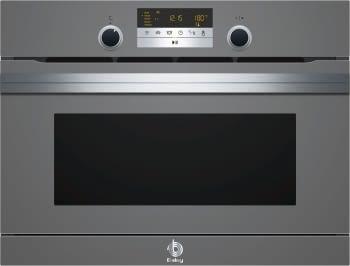 Horno Compacto con Vapor y Microondas Balay 3CH5656A0 | Cristal Gris | 45cm de Altura | Clase A+