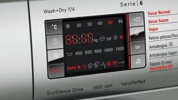 Lavasecadora Inox Bosch WVH2849XEP Lavado 10Kg Función Secado 6Kg 1400rpm Bajo Consumo - 3