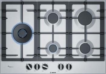 Placa de Gas Natural Bosch PCS7A5B90 Inoxidable de 75 cm con 4 Quemadores de Gas FlameSelect a 9 niveles + 1 Quemador Wok | Serie 6