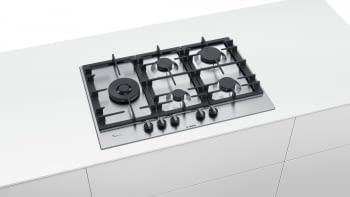 Placa de Gas Natural Bosch PCS7A5B90 Inoxidable de 75 cm con 4 Quemadores de Gas FlameSelect a 9 niveles + 1 Quemador Wok | Serie 6 - 2