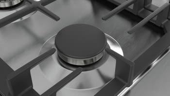 Placa de Gas Natural Bosch PCS7A5B90 Inoxidable de 75 cm con 4 Quemadores de Gas FlameSelect a 9 niveles + 1 Quemador Wok | Serie 6 - 6