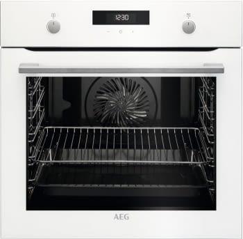 Horno AEG BEK435120W Blanco WhiteLine | 9 Funciones | AquaClean | 1 Carril Telescópico | Control Digital Pantalla LCD | Clase A+