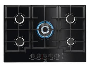 Placa de Gas AEG HKB75540NB Cristal Negro | 75 cm | 5 Quemadores | Conexión Placa-Campana Hob2Hood - 1