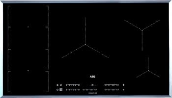 Placa de Inducción AEG IKE95471FB | 90 cm | 5 Zonas de cocción con PowerBoost | Conexión Placa-Campana Hob2Hood | Función FlexiPuente