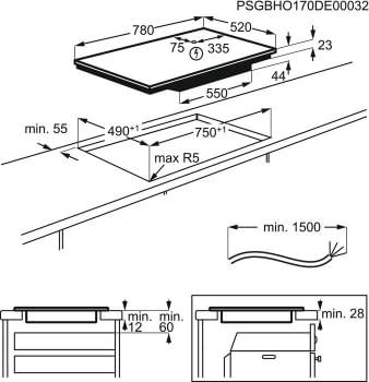 Placa de Inducción AEG IKE84475FB Flexible de 80 cm con 4 Zonas Max 32 cm MaxiSense PowerBoost Hob2Hood - 9