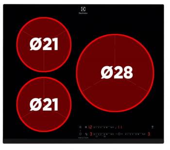 Placa de Inducción Electrolux EIF61342   Hob2Hood Vinculación Campana   Control Fritura   3 Zonas Ø28cm 2 Aros   Zona Flexible 210x420mm   Stock - 3