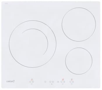 Placa de Inducción Cata IB 6203 WH   60 cm  3 zonas - Max. 28 cm   Blanca  Función Booster   9 niveles de potencia   Temporizador