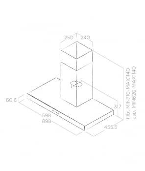 ELICA JOY BLIX/A/60 CAMPANA INOX CRISTAL NEGRO 60CM 713M3/H - 3