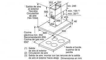 BALAY 3BI998HGC CAMPANA ISLA CRISTAL GRIS ANTRACITA 90CM 867M3/H A+ - 7