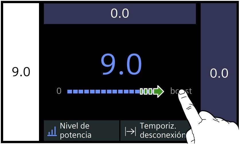 Potencia de una placa de inducción Siemens