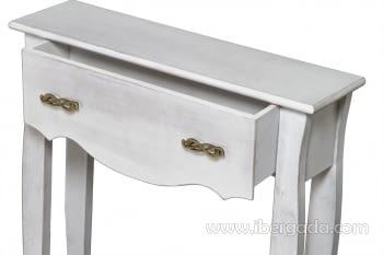 Consola Estrecha 1 Cajón Blanca Decapé (70x20x80) - 2