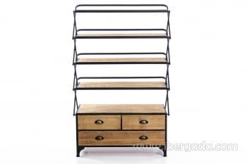 Estantería madera/hierro Plegable (87x42x137) - 1
