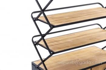 Estantería madera/hierro Plegable (87x42x137) - 2