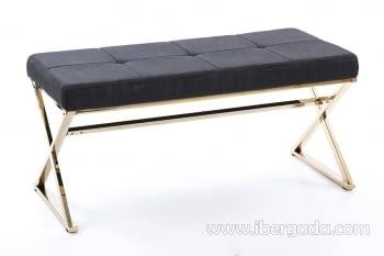 Banqueta Gris Oscuro/Acero Dorado (100x46)