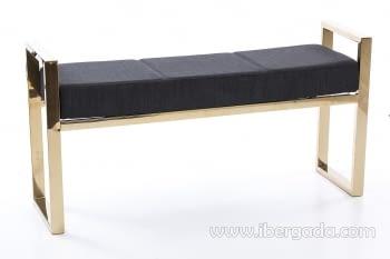 Banqueta Negro/Acero Dorado (107x30)
