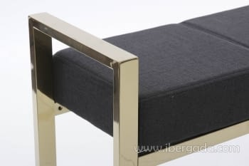 Banqueta Negro/Acero Dorado (107x30) - 1