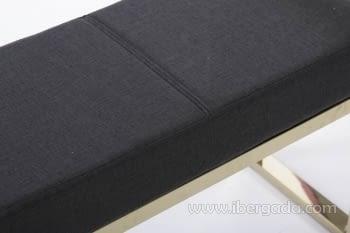 Banqueta Negro/Acero Dorado (107x30) - 2