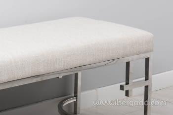 Banqueta Beige/Acero Plata (140x46) - 1