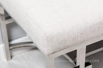 Banqueta Beige/Acero Plata (140x46) - 2