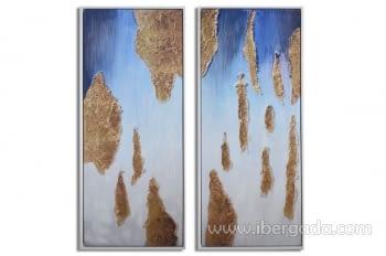 Juego de 2 Cuadros Abstractos Oro (155x65)
