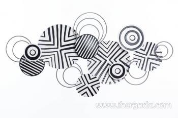 Cuadro de Metal Blanco y Negro (135x69)