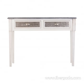 Consola Ecija 2 Cajones Blanca/Aluminio (110x30x81)
