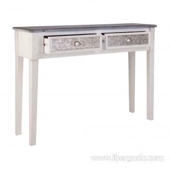 Consola Ecija 2 Cajones Blanca/Aluminio (110x30x81) - 1