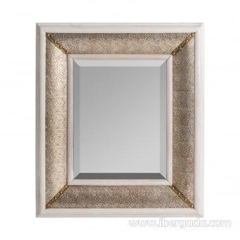 Espejo Rectangular Silver XIII Blanco/Oro (94x81)