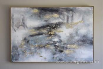 Cuadro Oleo Abstracto Plata/Oro I (135x90)