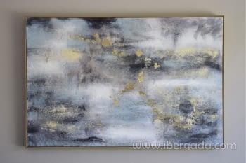 Cuadro Oleo Abstracto Plata/Oro II (135x90)