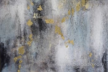 Cuadro Oleo Abstracto Plata/Oro II (135x90) - 1