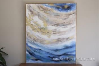 Cuadro Oleo Abstracto Azul/Oro I (120x100)