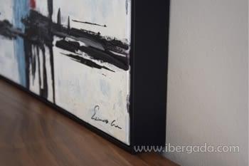 Cuadro Oleo Abstracto Blanco/Negro I (120x90) - 2