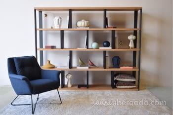 Estantería/Librería Roble/Grafito (240x40x190)