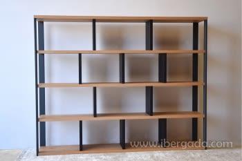 Estantería/Librería Roble/Grafito (240x40x190) - 3